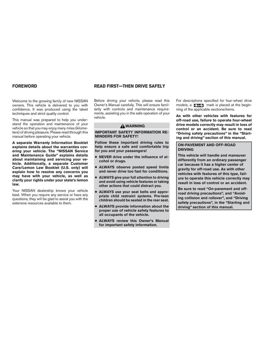 2009 Nissan Xterra owners manual