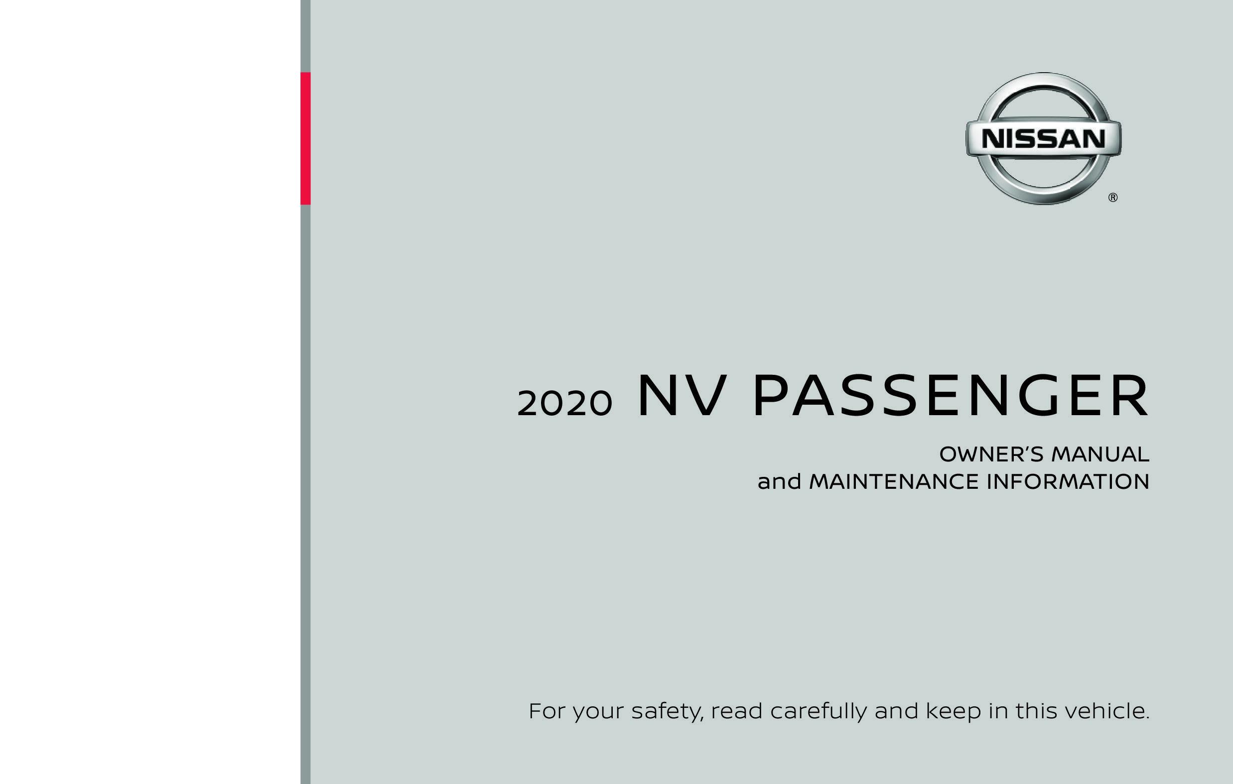 2020 Nissan Nv Passenger owners manual