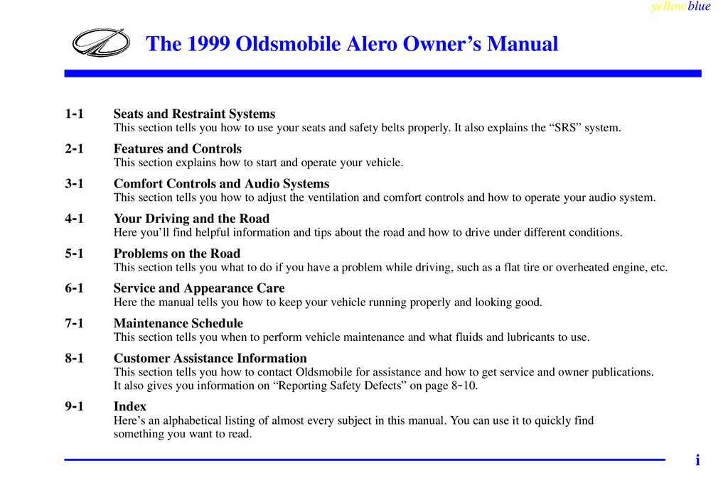 1999 Oldsmobile Alero owners manual