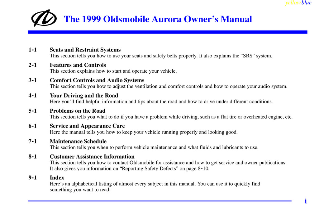 1999 Oldsmobile Aurora owners manual