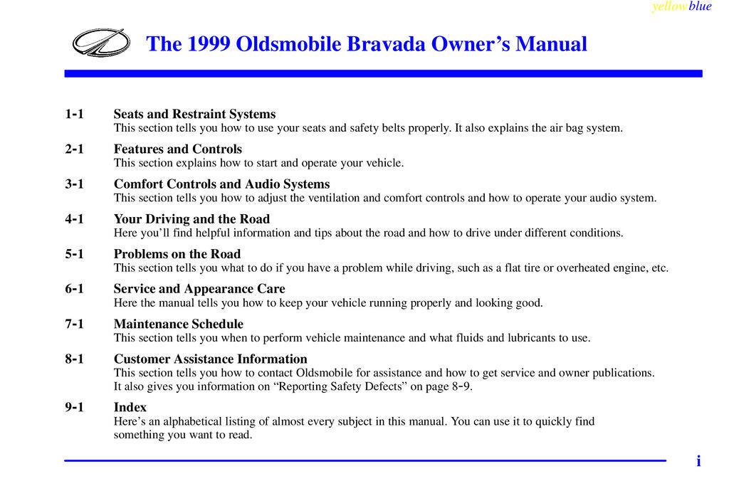 1999 Oldsmobile Bravada owners manual