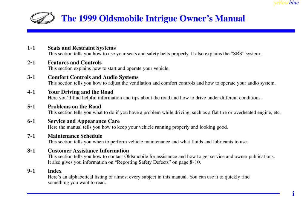 1999 Oldsmobile Silhouette owners manual