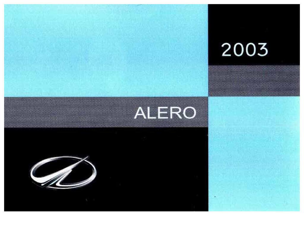 2003 Oldsmobile Alero owners manual