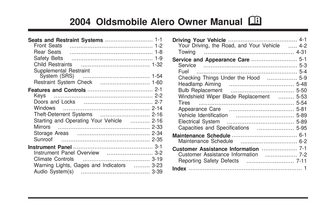 2004 Oldsmobile Alero owners manual