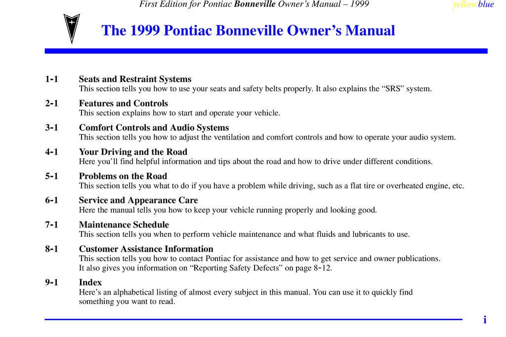 1999 Pontiac Bonneville owners manual