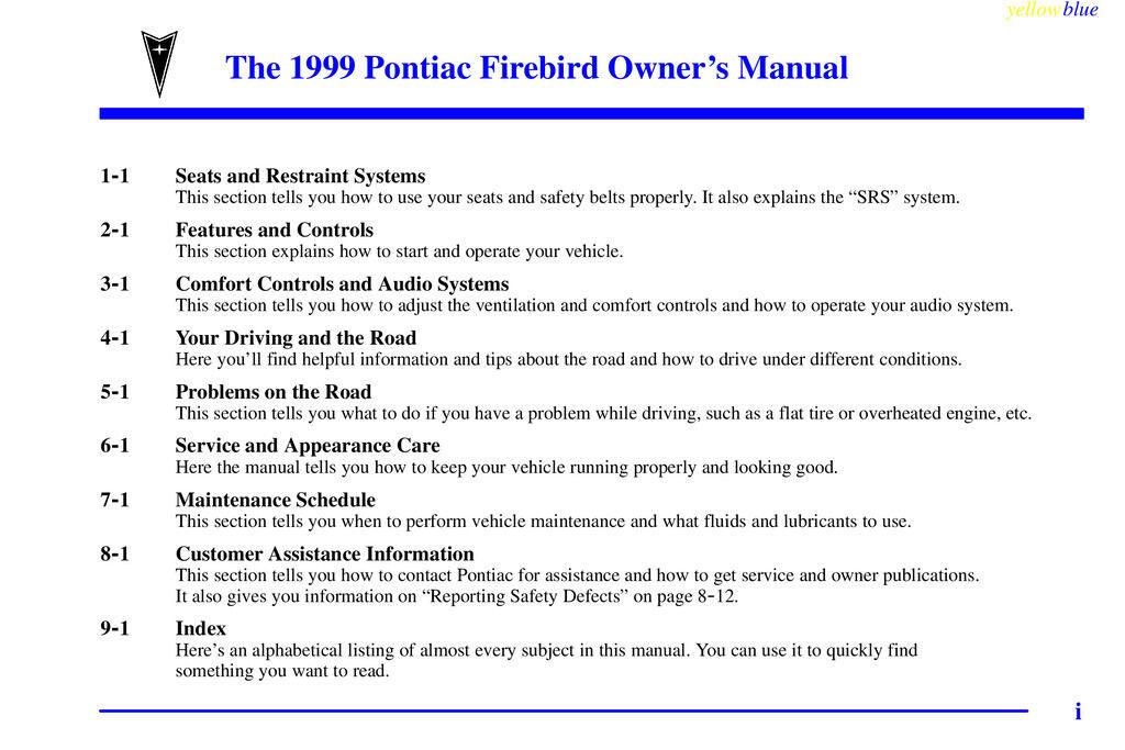 1999 Pontiac Firebird owners manual