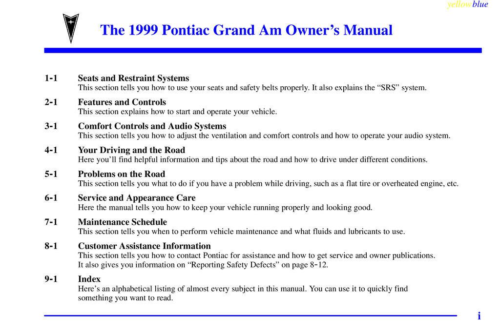 1999 Pontiac Grand Am owners manual