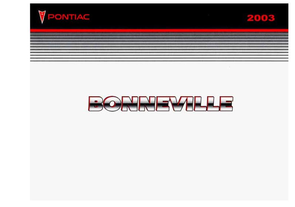 2003 Pontiac Bonneville owners manual