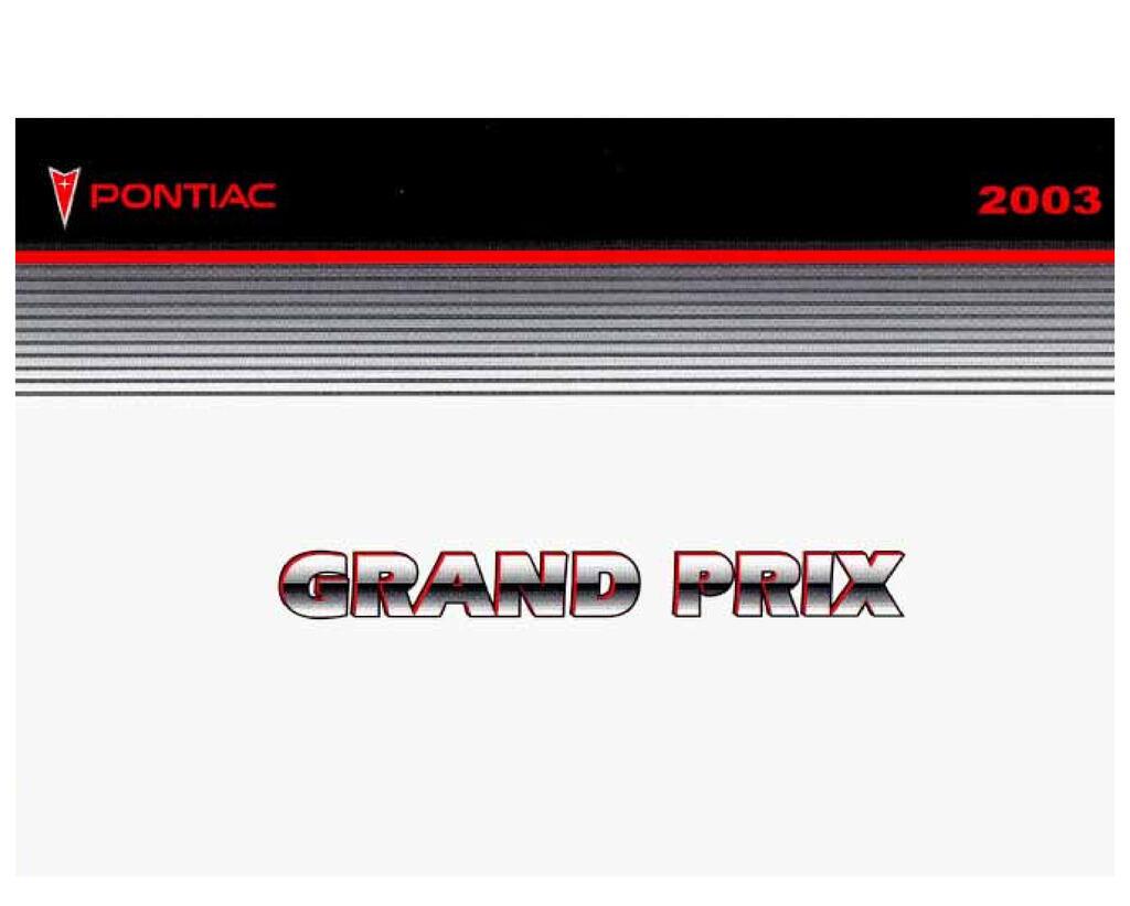 2003 Pontiac Grand Prix owners manual