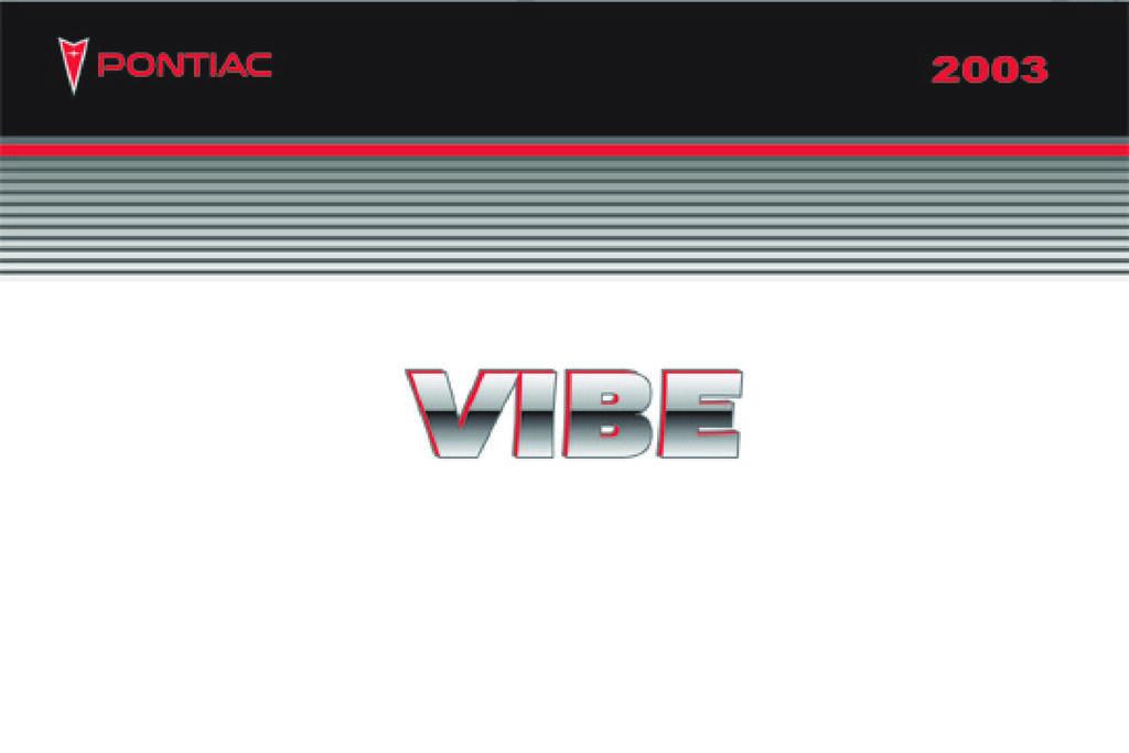 2003 Pontiac Vibe owners manual