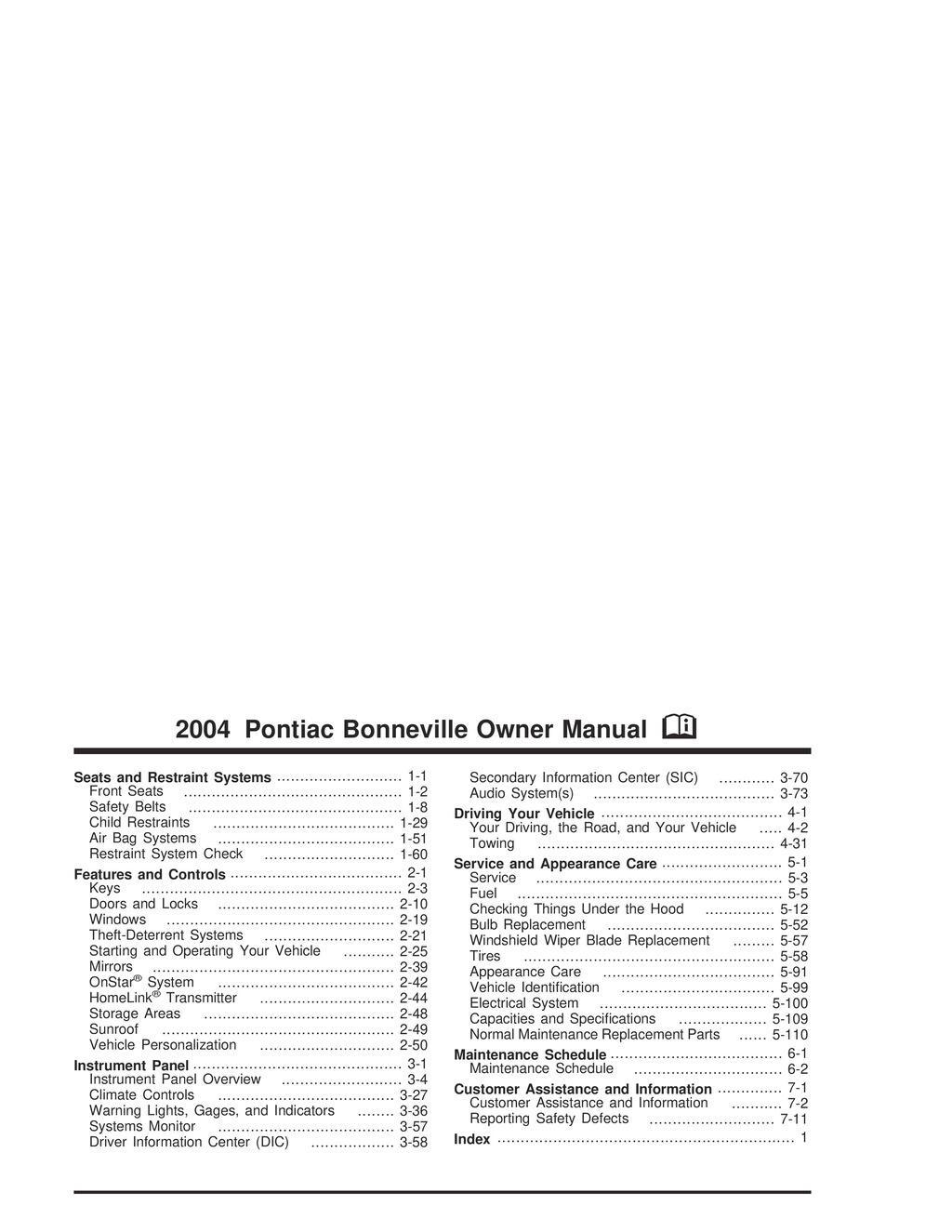 2004 Pontiac Bonneville owners manual