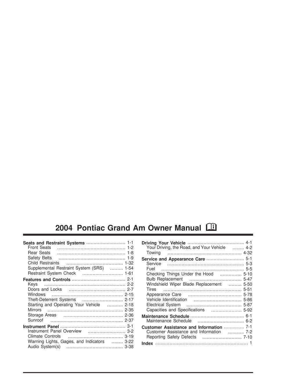 2004 Pontiac Grand Am owners manual