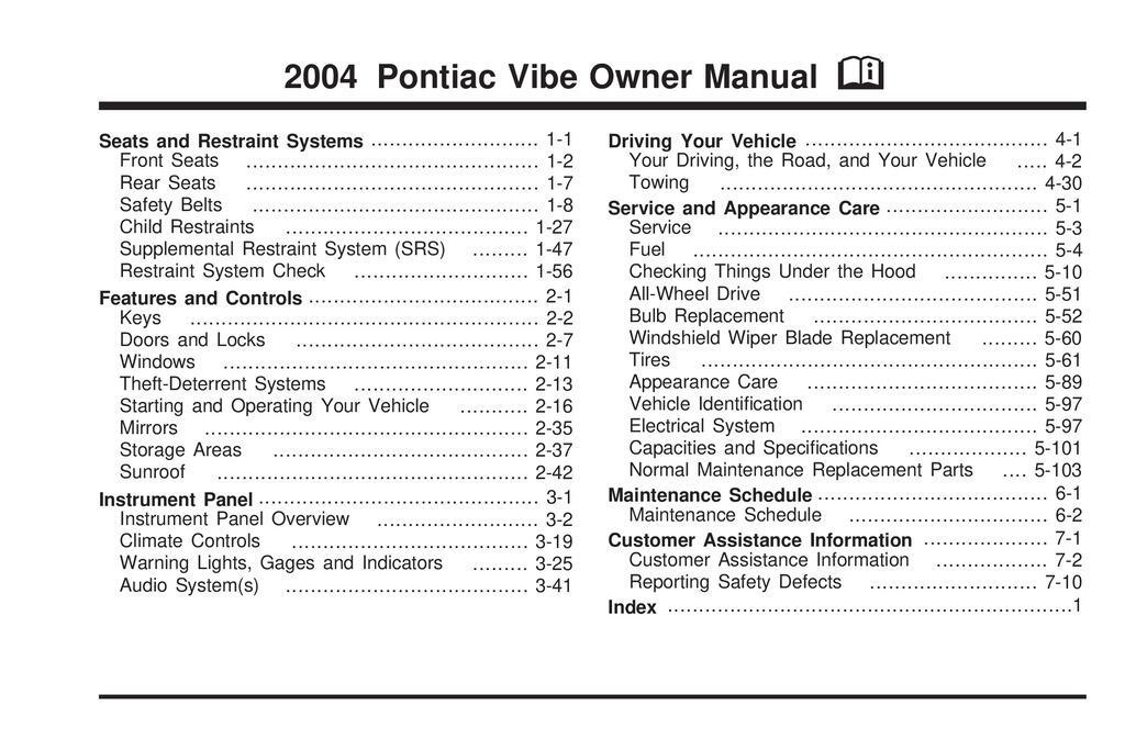 2004 Pontiac Vibe owners manual