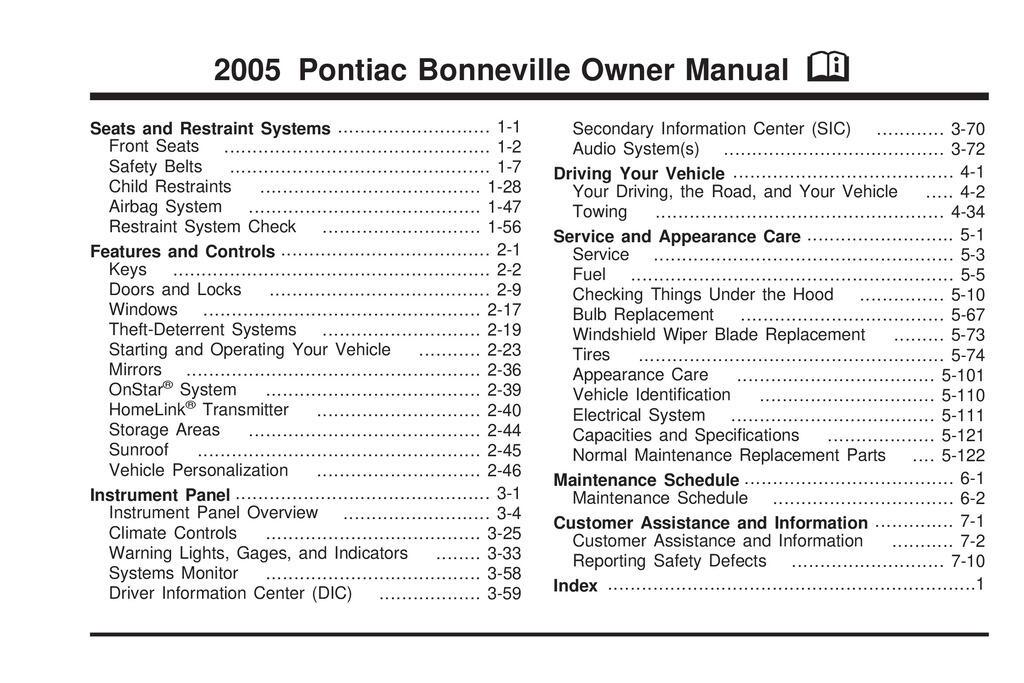 2005 Pontiac Bonneville owners manual