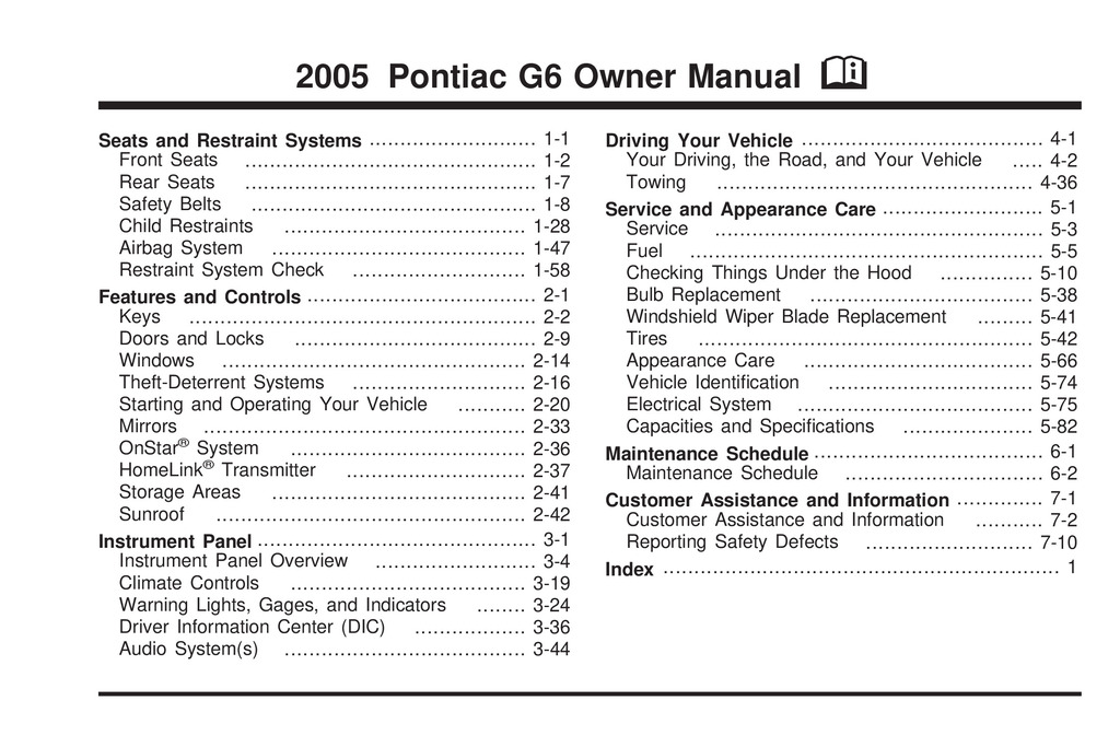 2005 Pontiac G6 owners manual