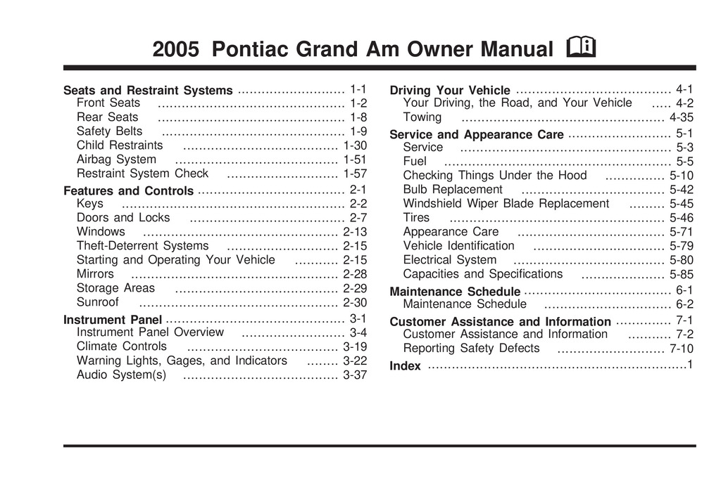 2005 Pontiac Grand Am owners manual