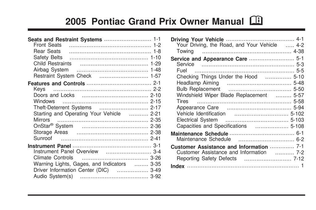 2005 Pontiac Grand Prix owners manual