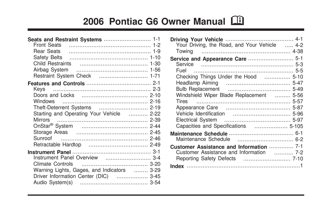 2006 Pontiac G6 owners manual