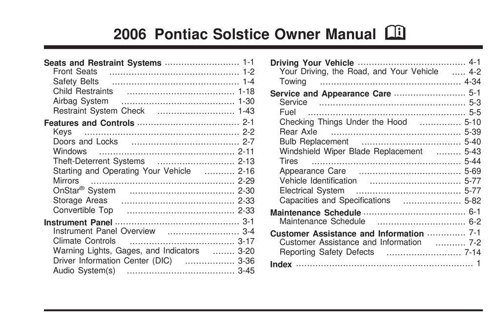 2006 Pontiac Solstice owners manual