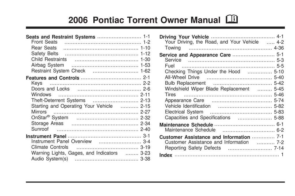 2006 Pontiac Torrent owners manual