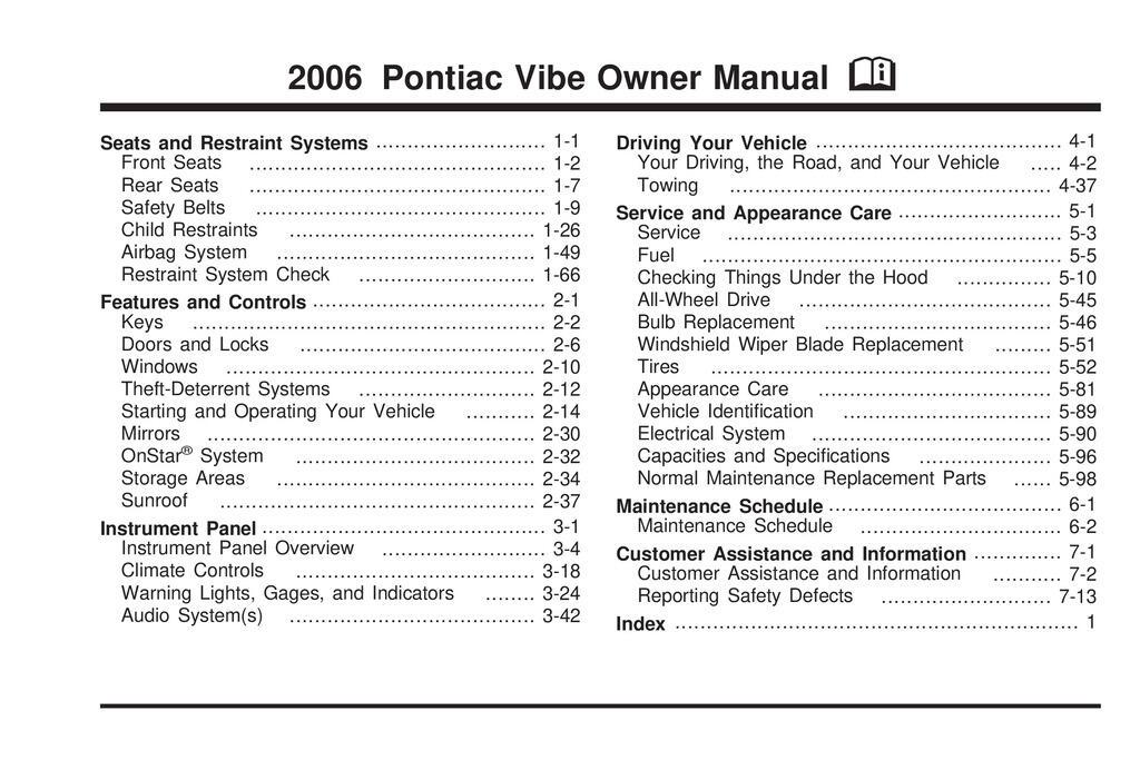 2006 Pontiac Vibe owners manual