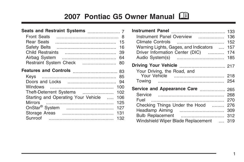 2007 Pontiac G5 owners manual
