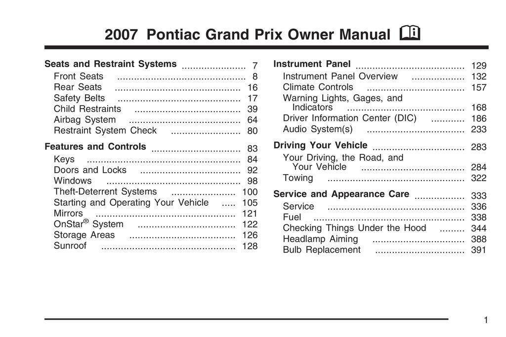 2007 Pontiac Grand Prix owners manual