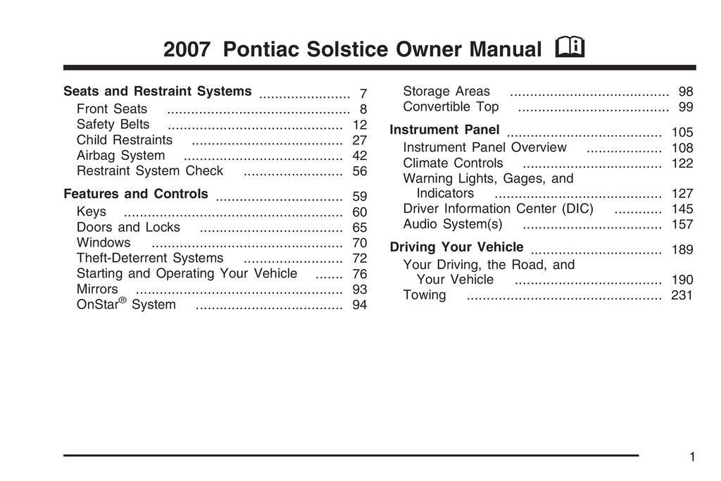 2007 Pontiac Solstice owners manual