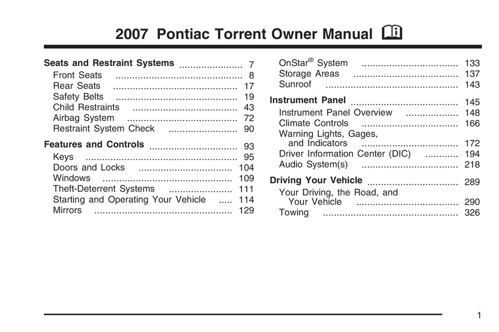 2007 Pontiac Torrent owners manual
