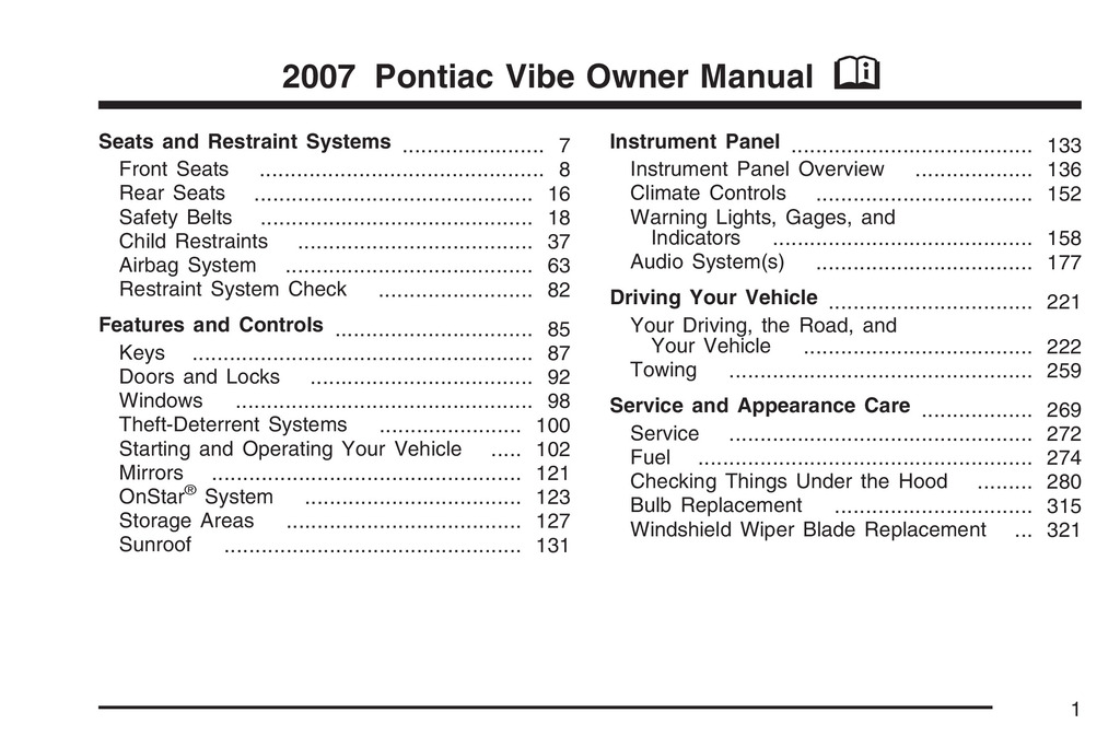 2007 Pontiac Vibe owners manual