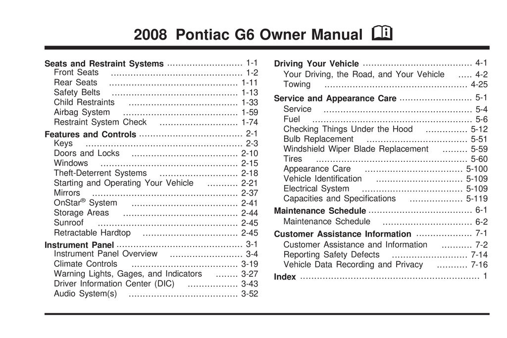 2008 Pontiac G6 owners manual