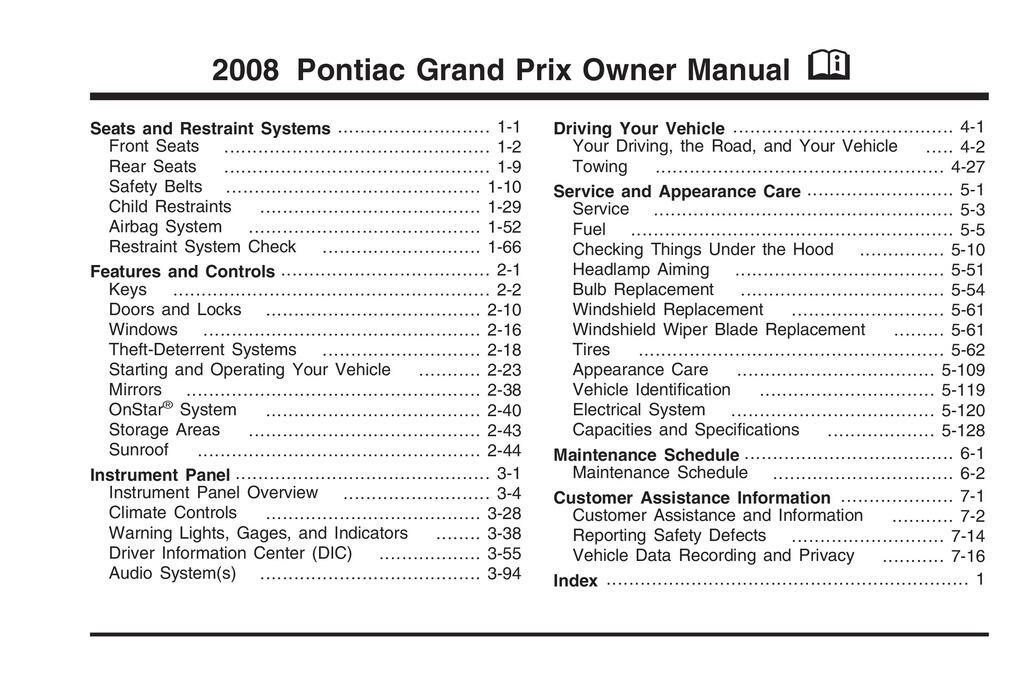2008 Pontiac Grand Prix owners manual