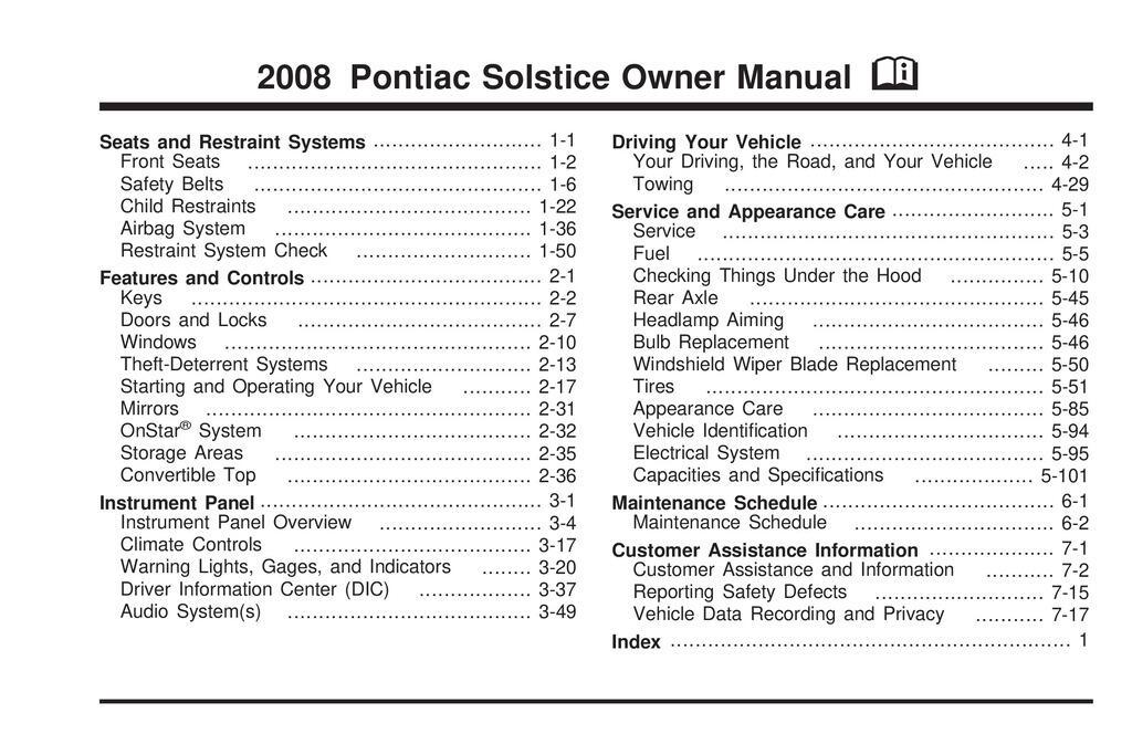 2008 Pontiac Solstice owners manual