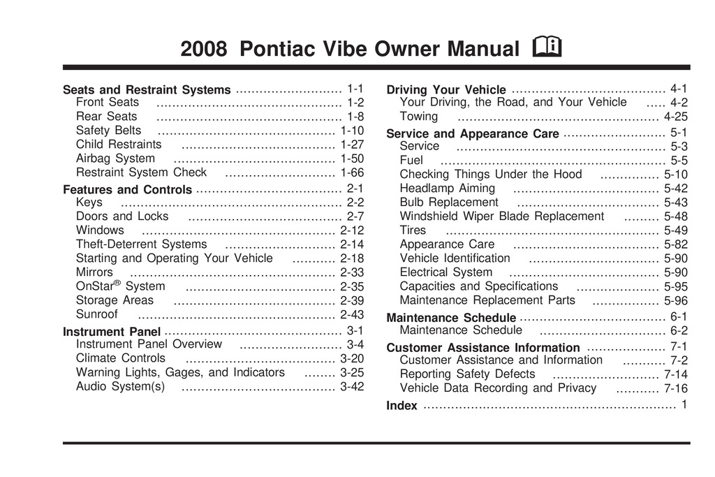 2008 Pontiac Vibe owners manual