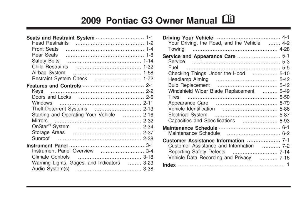 2009 Pontiac G3 owners manual