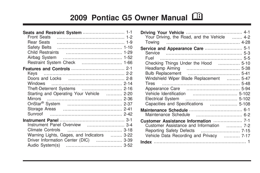 2009 Pontiac G5 owners manual