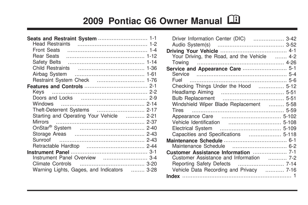 2009 Pontiac G6 owners manual