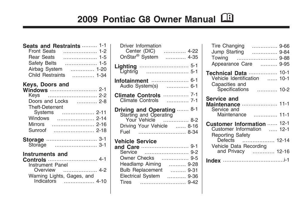 2009 Pontiac G8 owners manual