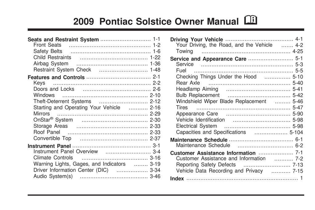 2009 Pontiac Solstice owners manual