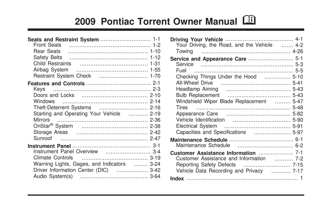 2009 Pontiac Torrent owners manual