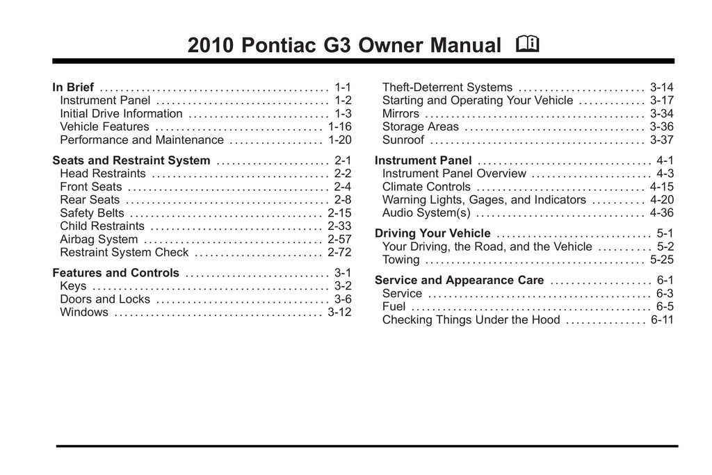 2010 Pontiac G3 owners manual