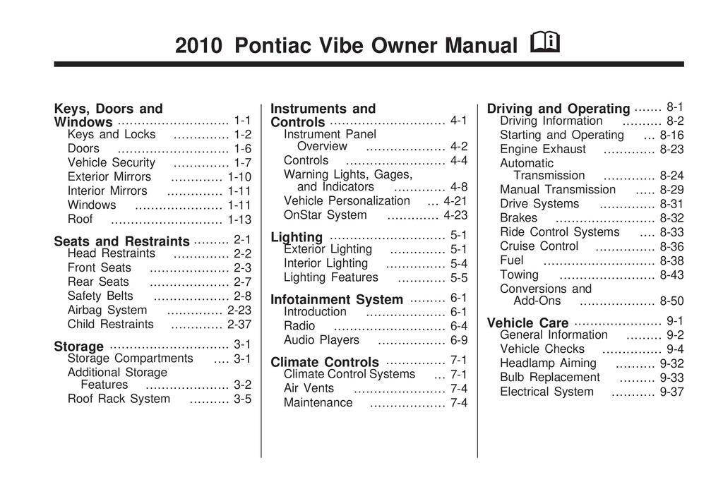 2010 Pontiac Vibe owners manual