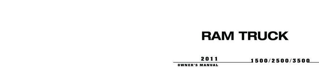 2011 RAM 1500 2500 3500 owners manual