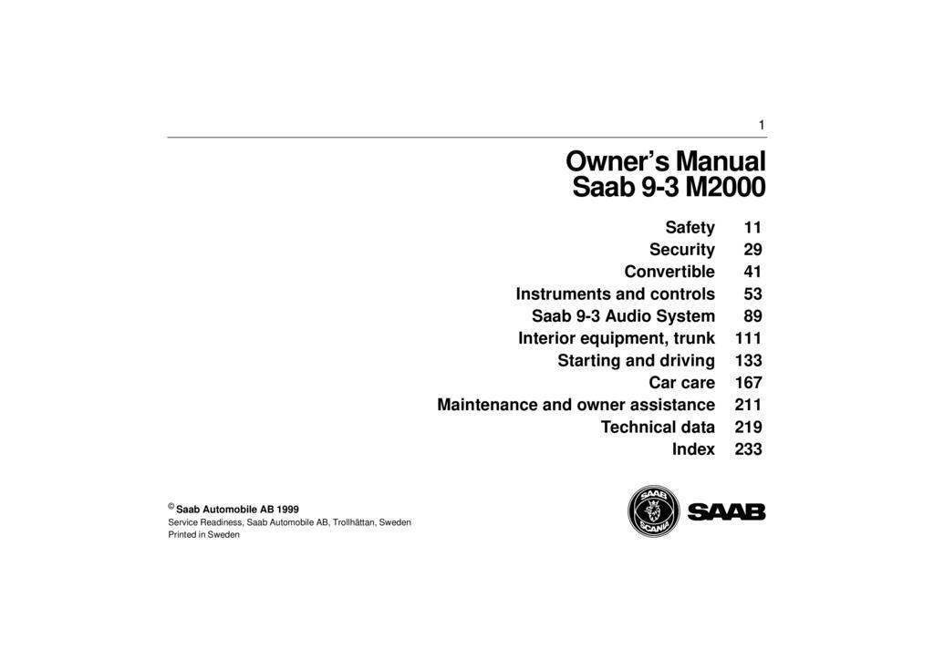 2000 Saab 9 3 owners manual