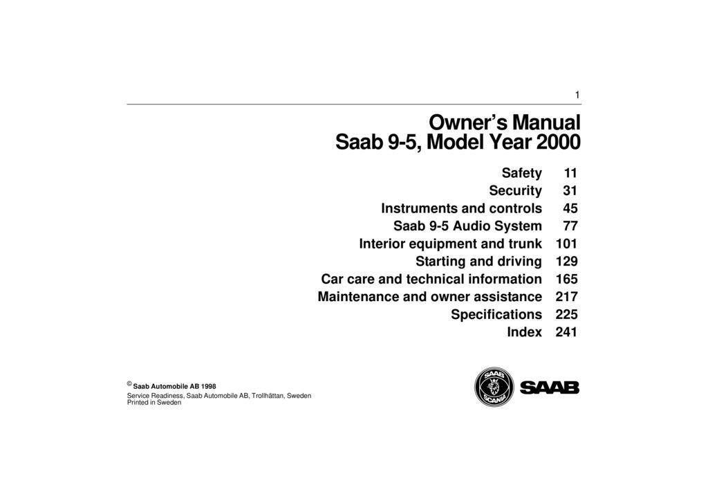2000 Saab 9 5 owners manual