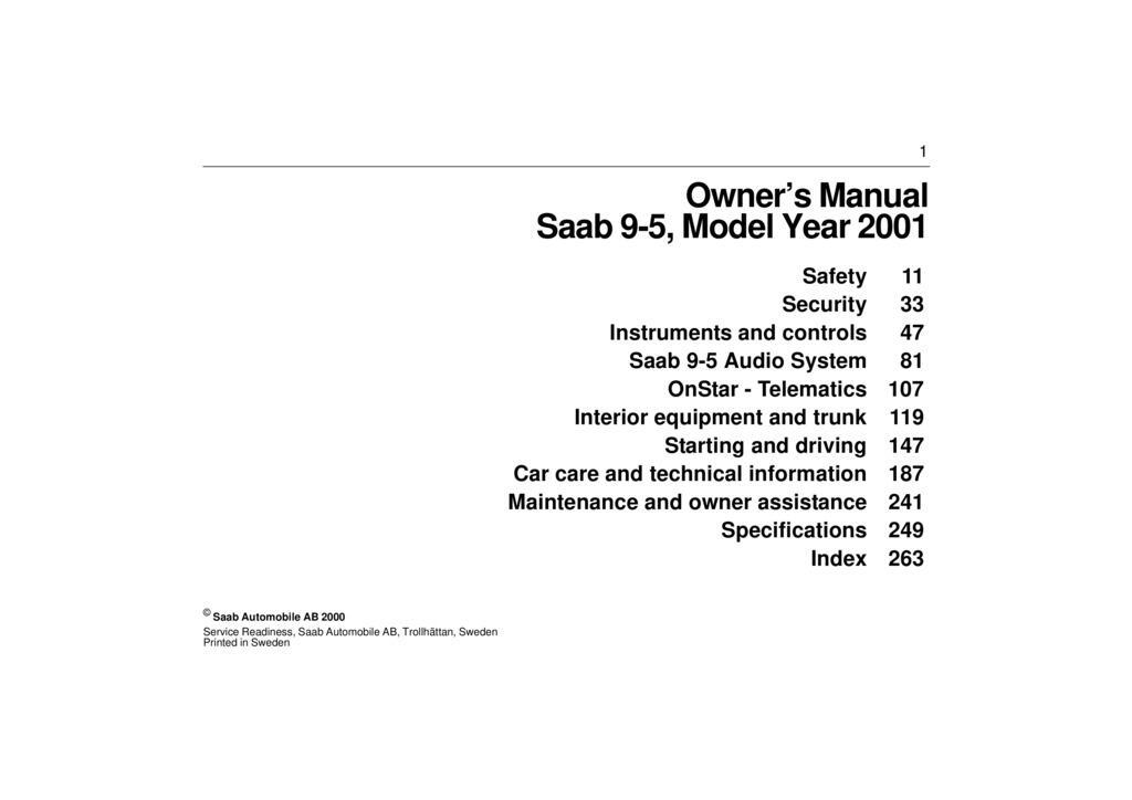 2001 Saab 9 5 owners manual