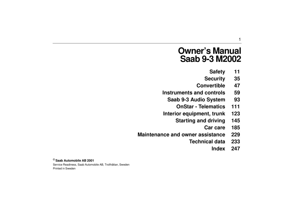2002 Saab 9 3 owners manual