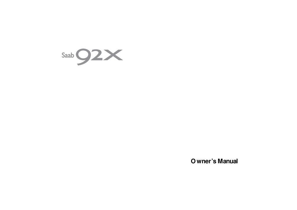 2005 Saab 9 2x owners manual