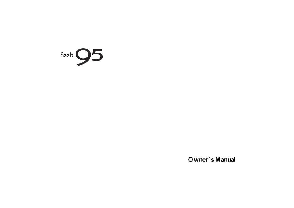 2005 Saab 9 5 owners manual