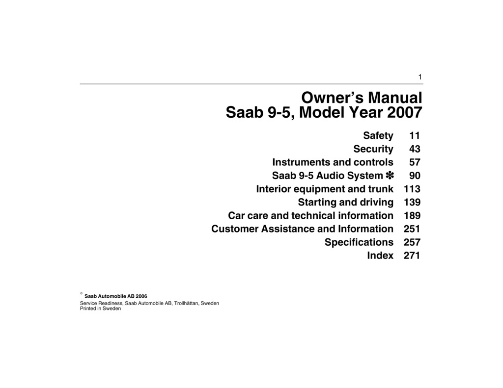 2007 Saab 9 5 owners manual